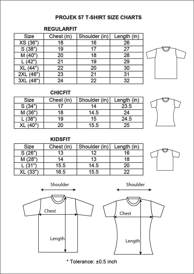 T-Shirt Size Chart - PROJEK57